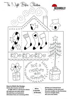 "Three ""Night Before Christmas"" Samplers from Red Brolly Christmas Embroidery Patterns, Christmas Applique, Christmas Sewing, Christmas Fabric, Hand Embroidery Patterns, Embroidery Applique, Cross Stitch Embroidery, Quilt Patterns, Embroidery Designs"