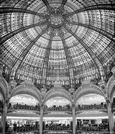 "Paris Black and White - gallerie lafayette Paris decor 11x14 shopping mall black and white architecture panorama 16x20 8x10 5x7 ""Ornate, II"""