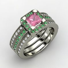 Princess Pink Tourmaline Palladium Ring with Emerald & Diamond - Perspective<~Ok this HAS to be MY wedding ring! So #PrettyMisses!