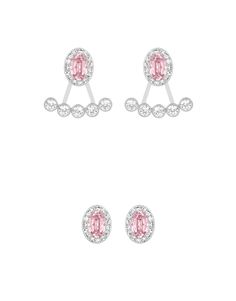 "Swarovski ""CHRISTIE"" Ear-Jackets Earrings *  #Swarovski #Jewelry #Crystals #Ovals #Earrings #SpringSummer2015 #MarianaCarmona #JewelleryDesigner #2015 #Pink"