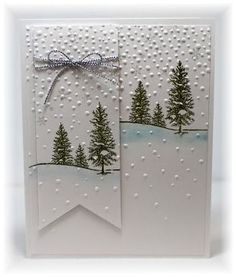 Scrappin' and Stampin' in GJ: trees in green & a little Marina Mist sponged under hills Christmas Card Crafts, Homemade Christmas Cards, Christmas Cards To Make, Xmas Cards, Homemade Cards, Handmade Christmas, Holiday Cards, Stampin Up Christmas, Simple Christmas