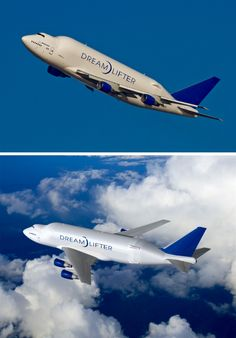 """Boeing 747-400 LCF (Large Cargo Freighter) Dreamlifter Four second-hand 747-400's have been converted to 747-400 LCF aircraft, known as """"Dreamlifters"""" due to their exclusively being used to transport parts for the Boeing 787 Dreamliner. The cargo hold can carry up to 65,000 cubic feet of cargo, the largest in the world, and three times the volume of a 747-400F freighter. A swing-tail allows for easy access to the cargo bay. Boeing 787 Dreamliner, Boeing 747 400, Cargo Aircraft, Boeing Aircraft, Douglas Dc3, Aircraft Photos, Commercial Aircraft, Civil Aviation, Jets"""