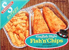 Vintage TV Dinner box Frozen Food Swanson Fish N Chips Old Retro Recipes, Vintage Recipes, Ethnic Recipes, Vintage Food, Retro Food, Retro Ads, Vintage Ads, Vintage Advertisements, 1960s Food