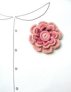 Brooch Crochet Flower Brooch in Pretty Pink with by VeraJayne, $12.00