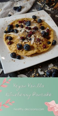 Pancakes are so versatile, sweet or hearty, you can cover them with anything your heart desires.😍 Today I decided to go for a vegan vanilla blueberry variant. 😌 #blueberrypancake #pancake #veganpancake #recipe #maindish #vegan #sugarfree Healthy Blueberry Pancakes, Vegan Pancakes, Sugar Free Recipes Healthy, Vegan Recipes, Clean Eating Diet, Your Recipe, Main Dishes, Food And Drink, Breakfast