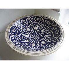 Moroccan handmade ceramic pottery salad pasta fruit bowl plate