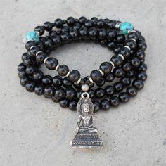 Strength Buddha , ebony and turquoise 108 bead wrap mala necklace or bracelet