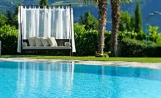 Outdoor swimming pool with whirlpool