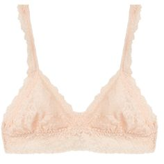 Hanky Panky Cream Triangle Signature Stretch-Lace Bralette ($34) ❤ liked on Polyvore featuring intimates, bras, cream, stretch lace bra, hanky panky bra, hanky panky, sheer demi bra and bralette bras