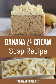For this cold process soap recipe I'm using banana, heavy cream and essential oils. To top it of I'm doing some cute piping soap technique. soap recipes Banana and Cream Soap - Tweak and Tinker Handmade Soap Recipes, Soap Making Recipes, Handmade Soaps, Diy Soaps, Diy Beauté, Coffee Soap, Oatmeal Soap, Snacks Saludables, Honey Soap