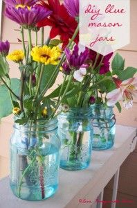 DIY Blue Mason Jars