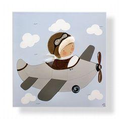 Artículos similares a Cuadro infantil personalizado, pintado a mano y personalizado - Niño aviador en Etsy