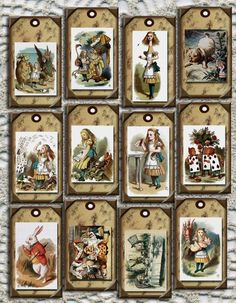 Wonderful pRImItIvE Alice In Wonderland Vintage Art Hang/Gift Tags - Printable Collage Sheet Download JPG Digital File-BUy ONe GEt ONe FREE. $2.50, via Etsy.