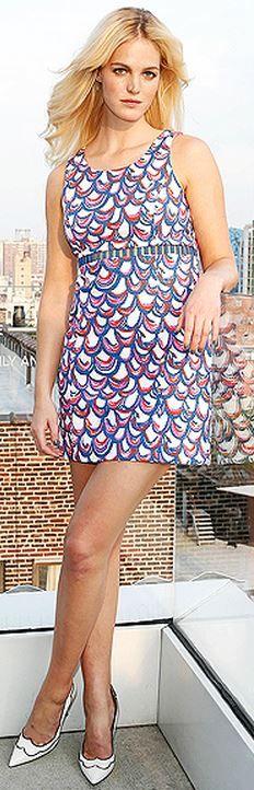 Who made Erin Heatherton's pink print dress?