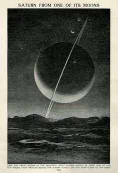 Saturn From One of Its Moons, 1930 astronomy space star chart print planets, solar system, universe, space illustration print Space Illustration, Antique Illustration, Star Chart, Space And Astronomy, Soft Grunge, Stars And Moon, Ciel, Solar System, Graphic