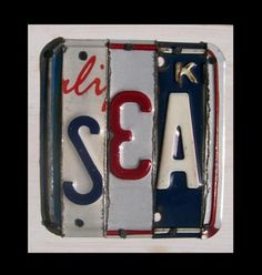 SEA word block. Recycled License Plate Art $35 etsy.com @recycledartco
