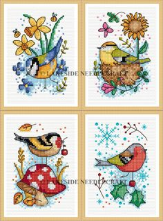 Seasonal Birds by Durene Jones designed exclusively for Lakeside Needlecrafts, counted cross stitch kits
