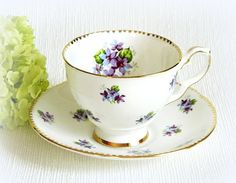 Royal Stafford Bone China Teacup and Saucer Sweet Violets