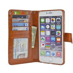 5.5-inch iPhone 6 Plus Folio Premium PU Synthetic Leather Wallet Case with Six Card Slots, Money Pocket and Screen Protector - Navor (Brown)