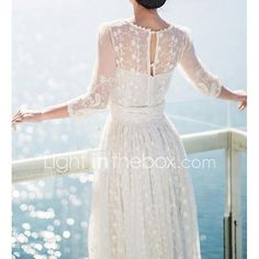 Women's Hollow Out Lace Embroidery Long Dress 2017 - $33.07
