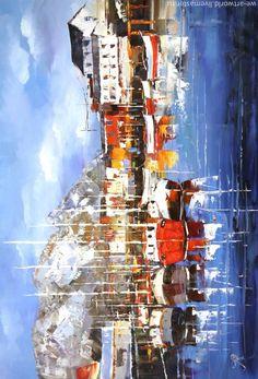 """Купить Картина маслом """"Северная бухта"""" - разноцветный, море живопись, лодка, импрессионизм, пейзаж"""
