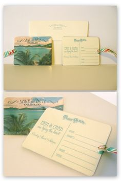 postcard save the dates, if you are having a destination wedding it would be adorable to make luggage tags!