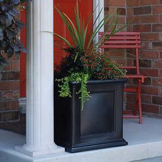 Mayne Square Polyethylene Fairfield Patio Planter - If you're having no luck in the garden, why not grow flowers in a planter on the patio instead? The Mayne Square Polyethylene Fairfield Patio. Square Planters, Outdoor Planters, Indoor Outdoor, Outdoor Living, Outdoor Ideas, Outdoor Spaces, Garden Planters, Porch Planter, Outdoor Life