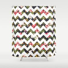 Floral Chevron Shower Curtain by Hipster | Society6