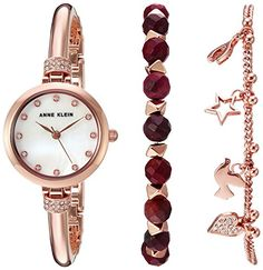 cool Anne Klein Women's AK/2840RJAS Swarovski Crystal Accented Rose Gold-Tone Bangle Watch and Red Jasper Beaded Bracelet Set