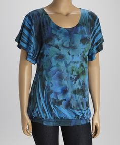 Look at this #zulilyfind! Blue & Black Floral Cape-Sleeve Top - Plus by Poliana Plus #zulilyfinds