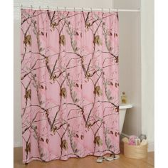 Realtree All Purpose Pink Camo Shower Curtain- Camouflage & Hunting Decor Camo Curtains, Pink Shower Curtains, Shower Curtain Hooks, Camo Bathroom, Bathroom Ideas, Bathroom Stuff, Bathroom Organization, Master Bathroom, Camo Bedding
