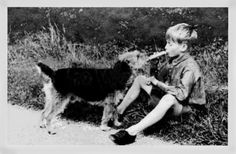 Boy sharing his lunch with his Airedale, 1922.