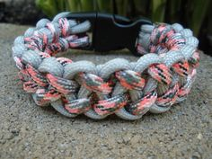"""7 1/4"""" Silver Gray and Pink Camo Piranha Weave Paracord by QuicKnots, $7.50"""