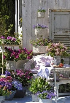 Cottage back porch by Ana Rosa flowers & plants inviting Outdoor Rooms, Outdoor Gardens, Outdoor Living, Outdoor Decor, Garden Cottage, Cottage Porch, Porch Garden, Dream Garden, Cottage Style