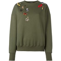 Alexander McQueen 'Obsession' sweatshirt ($865) ❤ liked on Polyvore featuring tops, hoodies, sweatshirts, green, long sleeve tops, embroidered tops, green top, alexander mcqueen tops and alexander mcqueen