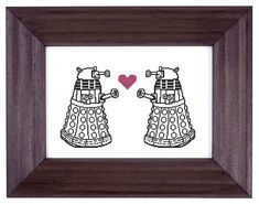 Daleks in love cross stitch