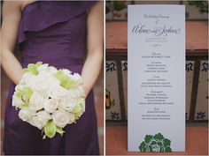 purple wedding program.... love the orchid accents in the bouquet