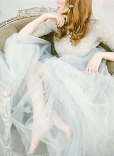 KT Merry Photography | 25 Gorgeous Ethereal Colored Wedding Dresses : http://www.fabmood.com/gorgeous-colored-wedding-dresses