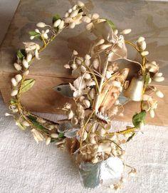 Antique Wax Flowers Tiara & Bouquet Victorian Vintage Wedding 2pc Something Old | eBay