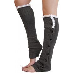Pair of Chic Lace and Button Decorated Solid Color Knitted Leg Warmers For Women #lily