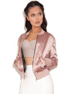 Satin bomber jacket with white bandage skirt #fashion #outfits #womenswear #outfitoftheday