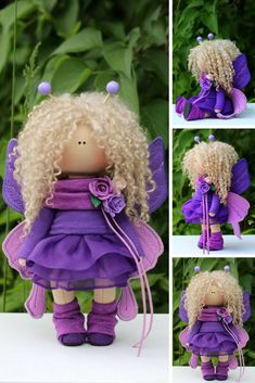 Butterfly Doll Textile Handmade Doll Tilda Fabric Doll Purple Soft Doll Rag Cloth Doll Collectable Art Doll Interior Bambole Doll by Olga P  This is handmade fabric doll created by Master Olga P. (Kazan, Russia).  Doll is 20 cm (7.8 inch) tall and made of only quality NATURAL materials. This is LUX quality doll.  Such dolls and toys can be great present for your beloved people. Besides, our dolls perfectly fit home decor and interior decoration: nursery, bedroom etc.