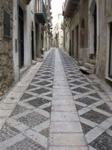 paved street in Alcamo, province of Trapani, Sicily