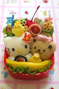 Food art Hello Kitty Bento Box - easily the cutest food art picture I've ever seen! Japanese Food Art, Japanese Lunch Box, Japanese Sweets, Bento Kawaii, Cute Bento Boxes, Bento Box Lunch, Bento Lunchbox, Food Art Bento, Amazing Food Art