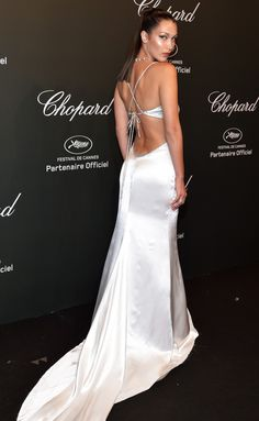 Cannes Film Festival 2017 Best Dresses from the Back - Bella Hadid in Cavalli Couture Gala Dresses, Red Carpet Dresses, Satin Dresses, Nice Dresses, Formal Dresses, Club Dresses, Gowns, Sexy Evening Dress, Evening Dresses