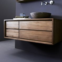 Mobile sottolavabo in teak 120 Parker - Prezzo - Tikamoon Bathroom Vanity Cabinets, Bathroom Furniture, Unit Bathroom, Solid Wood Furniture, Repurposed Furniture, Hanging Cabinet, Small Drawers, Vanity Units, Shelving