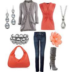 coral & grey