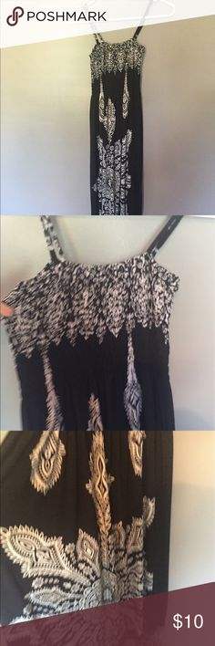 Black and white design summer maxi. Very soft and comfy, great with black sandals. Spaghetti straps and elasticized upper section like a tube top. Bottom flowy india boutique Dresses Maxi
