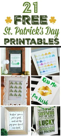 21 free St. Patrick's day printables. So many cute ones to choose from!