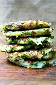 Zucchini fritters with tzatziki (from Alexandra Cooks).